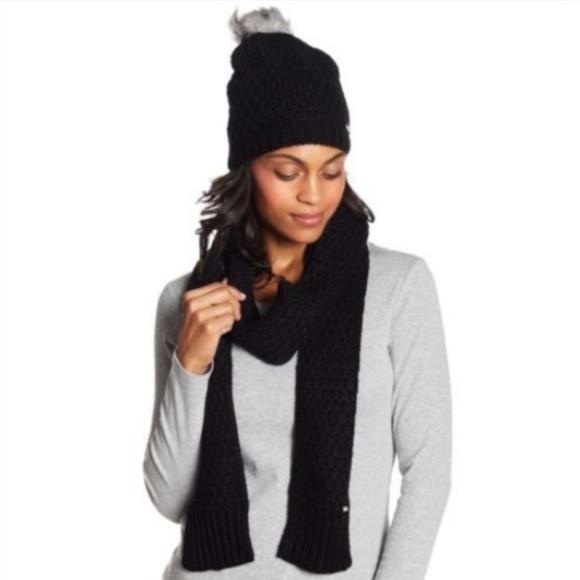 47d6ea9c4e086 NIB Michael Kors Faux Fur Black Beanie Hat Scarf